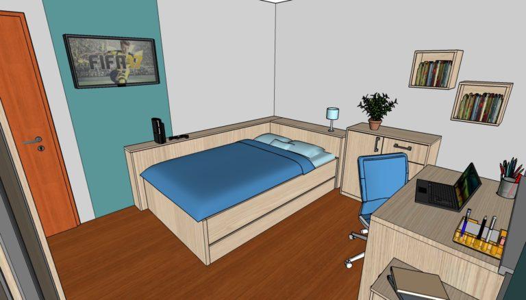 Ukázka designu dětského pokoje s postelí a poličkami.
