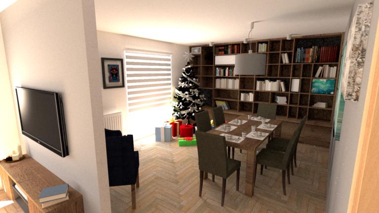 Ukázka světlého designu obývacího pokoje ve vánočním období.